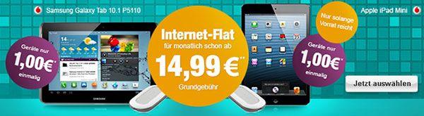 Vodafone 5GB Internet Flat mit Tablet und Surfbox für 1 EUR