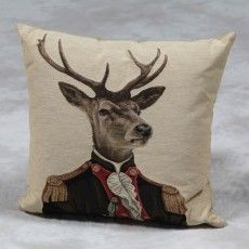 "Brown Sergeant Stag 18"" Tapestry Cushion"