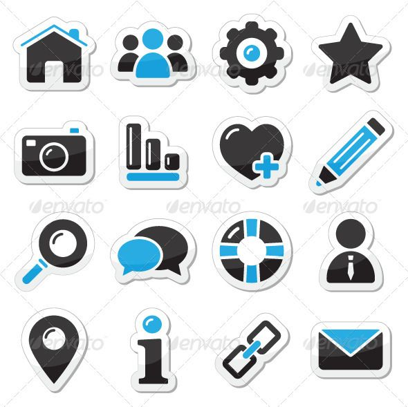 Web and internet icons set — Vector EPS #home #talk • Available here → https://graphicriver.net/item/web-and-internet-icons-set/2614129?ref=pxcr