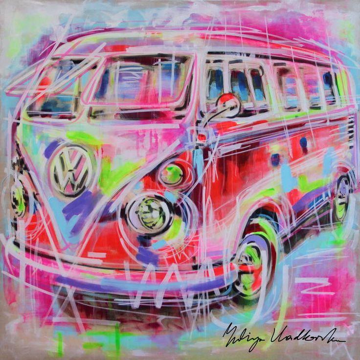 """Yuliya Vladkovska; Acrylic 2014 Painting """"Summer trip""""  VW, Volkswagen, vintage, travel"""