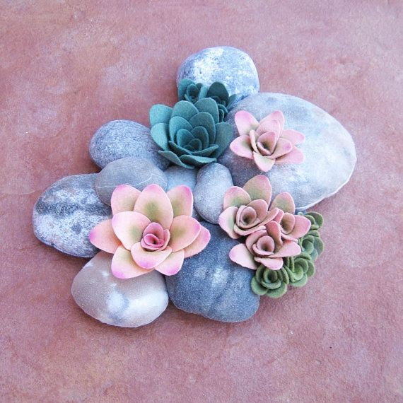 felt succulent plant and faux rock soft sculpture di miasole