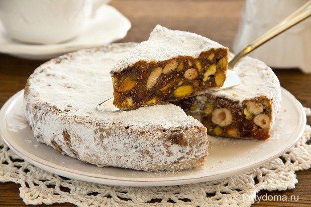 Панфорте - традиционный итальянский десерт с фруктами и орехами. История возникновения этого лакомства уходит своими корнями в тринадцатый век в город Сиену в Тоскане. Очень вкусное блюдо! Подарите себе сладкий праздник! ИНГРЕДИЕНТЫ миндаль - 120 г Мед - 220 г корица - 2 ч.ложки изюм - 30 г сливочное масло - 10 г сахарная пудра - 50 г инжир - 100 г Цедра апельсина - 2 ч. ложки курага - 100 г Сахар тростниковый - 100 г Мука - 50 г Фундук - 120 г Какао порошок - 50 г Имбирь молотый - 1/2…
