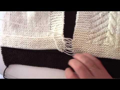 De matrassteek. Een mooie steek om bijv. gebreide blokken aan elkaar te bevestigen. - YouTube