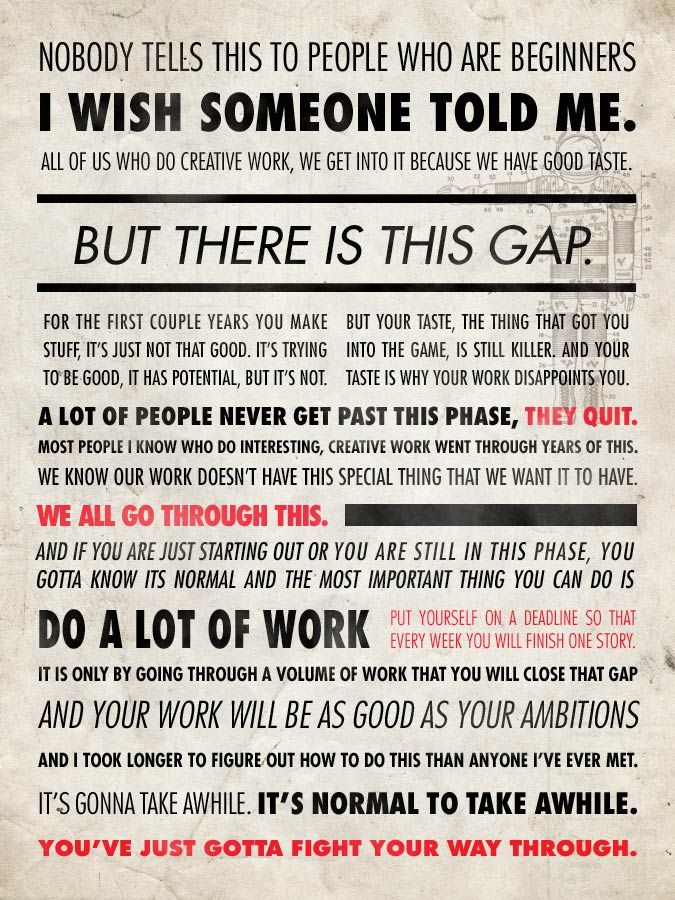 "[675x900] ""Nobody tells this to beginners..."" - Ira Glass"