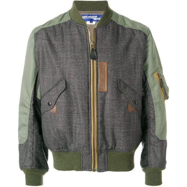 Junya Watanabe Comme Des Garçons Man zipped bomber jacket ($1,860) ❤ liked on Polyvore featuring men's fashion, men's clothing, men's outerwear, men's jackets, green, mens green leather jacket, mens leather jackets, mens green jacket, mens leather bomber jacket and mens green bomber jacket