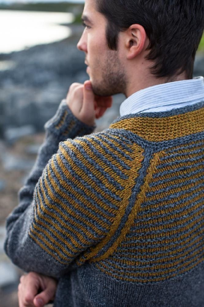 "Choose two colors and cast on for this simple top down raglan pullover. The back neck is raised with short row shaping in a contrasting color. The yoke is worked in stripes with slipped stitches along the raglan increase lines. Striped ribbing at the cuffs and bottom edging echoes the colorful yoke.Sample is shown in Large with 4"" / 10cm of positive ease. Sweater is intended to fit with 2-4"" / 5-10cm of positive ease.Sample is in: Brooklyn Tweed SHELTER. Other listed yarns are suggested…"