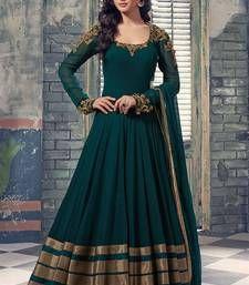 Buy Dark green georgette embroidered semi stitiched salwar with dupatta party-wear-salwar-kameez online