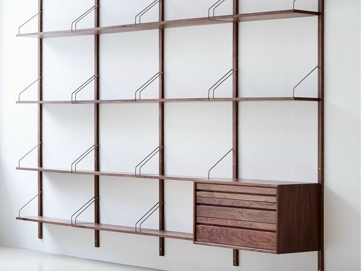 Wall-mounted sectional walnut bookcase ROYAL SYSTEM by DK3 ApS | design Poul Cadovius
