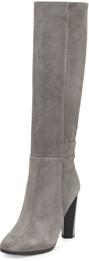 $468, Grey Suede Knee High Boots: Diane von Furstenberg Pagri Suede Over The Knee Boot Gray. Sold by Neiman Marcus.