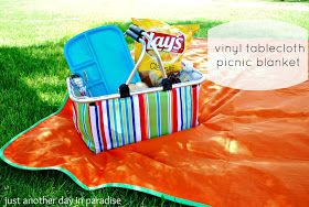 Just Another Day in Paradise: Vinyl Tablecloth Picnic Blanket Tutorial