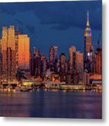 Print by Susan Candelario  New York City Skyline Pride - The midtown Manhattan NYC skyline is bathed with warm and cool hues during the blue hour at twilight.  The Empire State Building ( ESB ) and the Bank of America skyscraper antennas are illuminated with colors of the rainbow in celebration of the LGBT community during the NYC Pride week.  www.susancandelario.com #NYCPride #NYCSkyline #NewYorkCity #LGBT #RainbowColors