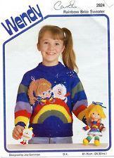 "Vintage Child/toddler 24-30"" chest Rainbow Brite motif jumper knitting pattern for sale in my eBay shop - dollie.daydreams"