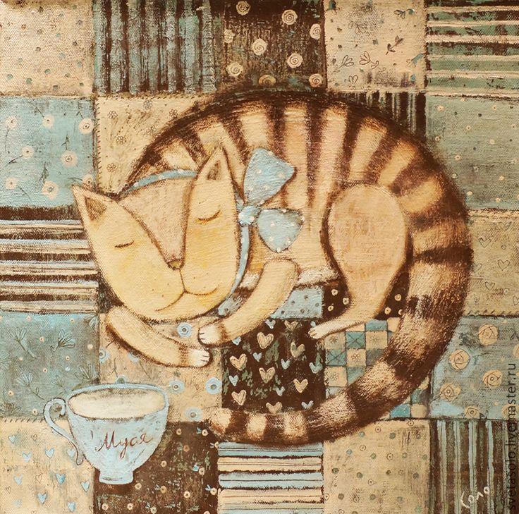 Купить Кошка Муся - бежевый, кошка, лоскутное одеяло, молоко, бантик, одеяло пэчворк, чашка