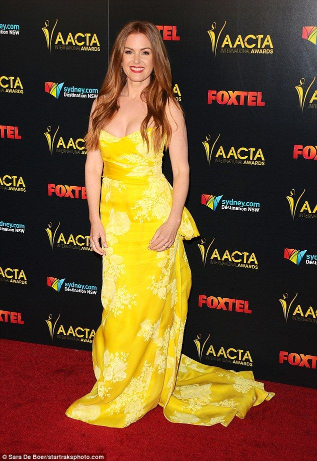 Glowing: The international soirée attracted a range of A-list talent, including Mel Gibson and Isla Fisher - who brightened up the carpet in a sleeveless yellow gown