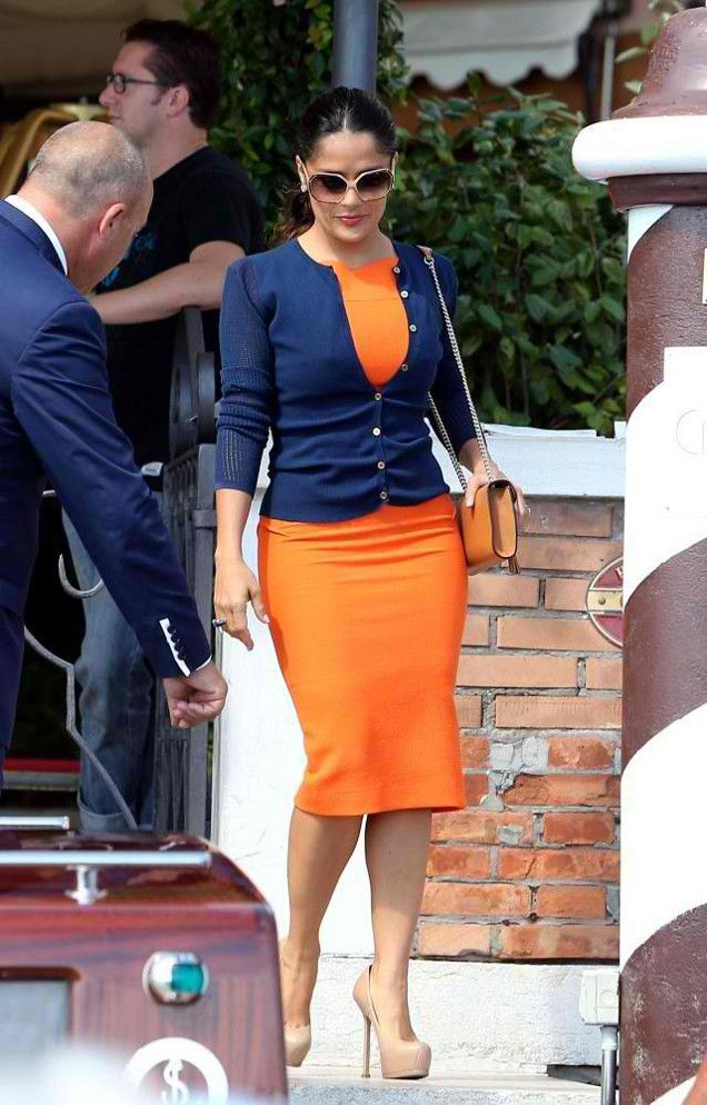 Salma Hayek in Venice wearing Roland Mouret dress, YSL pumps carrying Gucci purse