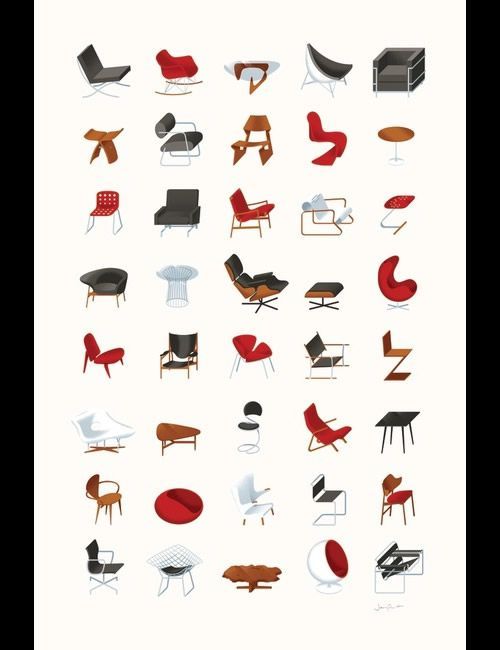 Mid-Century Modern Furniture Poster By James Provost James Provost has  created an illustrated collection