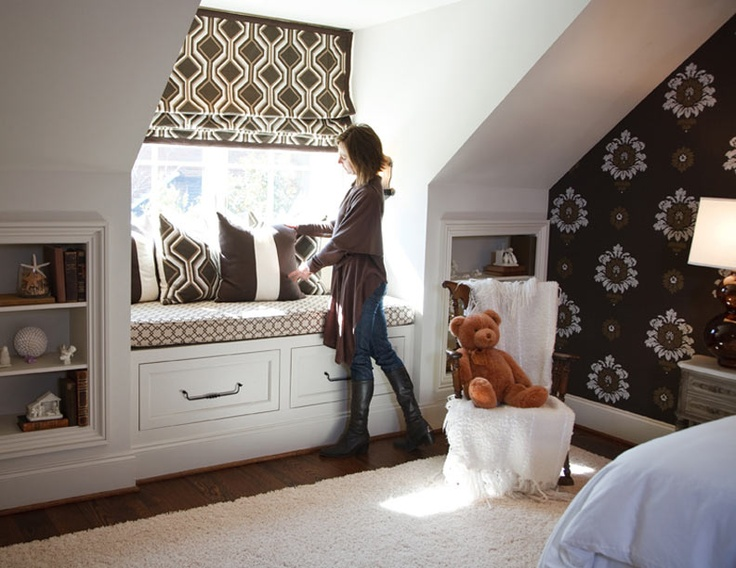 40 best attic closets images on pinterest attic for Window seat curtains