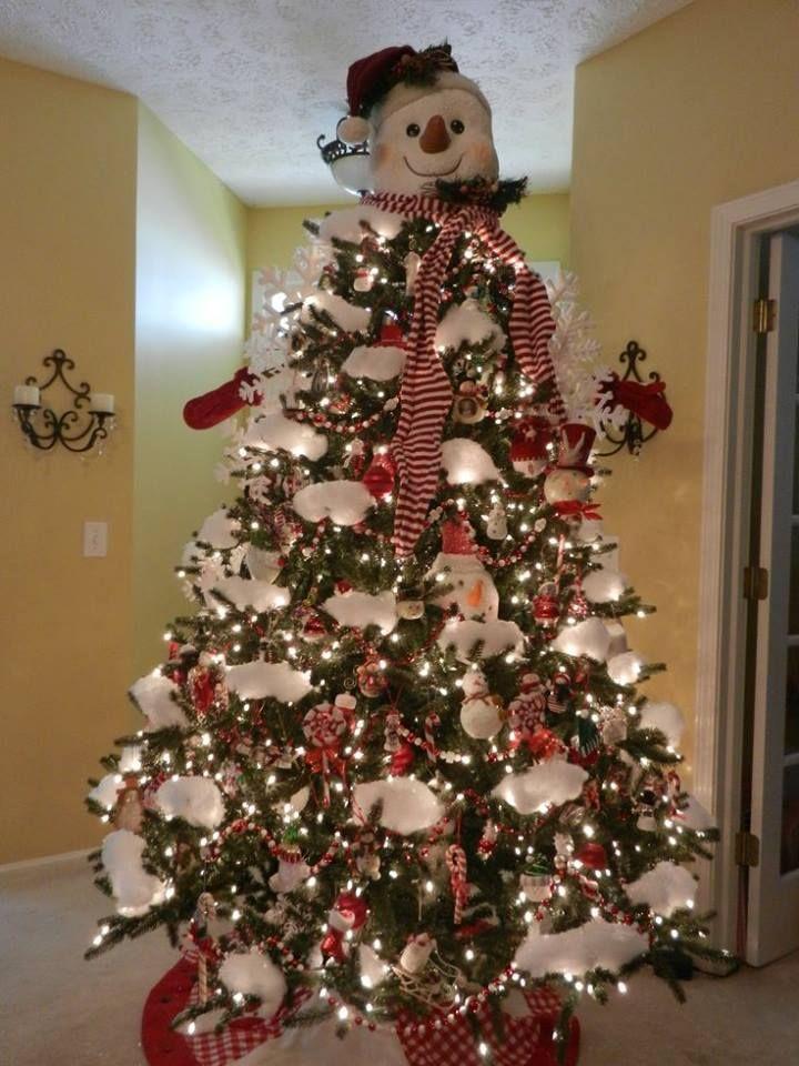 Árbol navideño decorado con muñecos de nieve