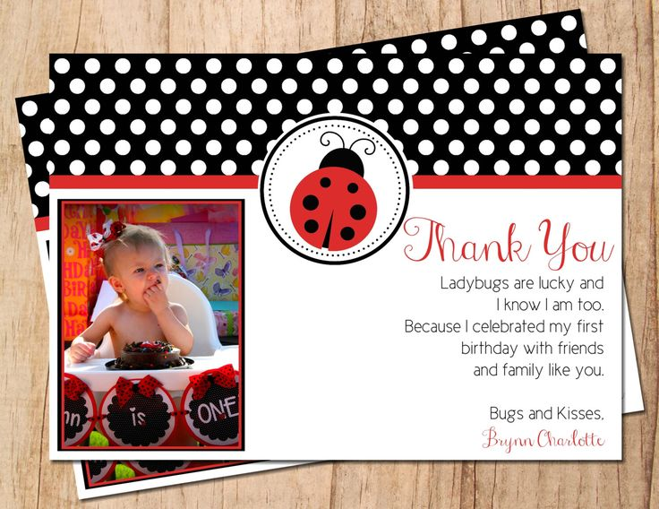 Ladybug Photo Birthday Thank You Card . Red or Pink Ladybug  . Printable Thank You Note . JPEG or PDF File . Personalized by MoonshyneDesigns on Etsy https://www.etsy.com/listing/185716553/ladybug-photo-birthday-thank-you-card