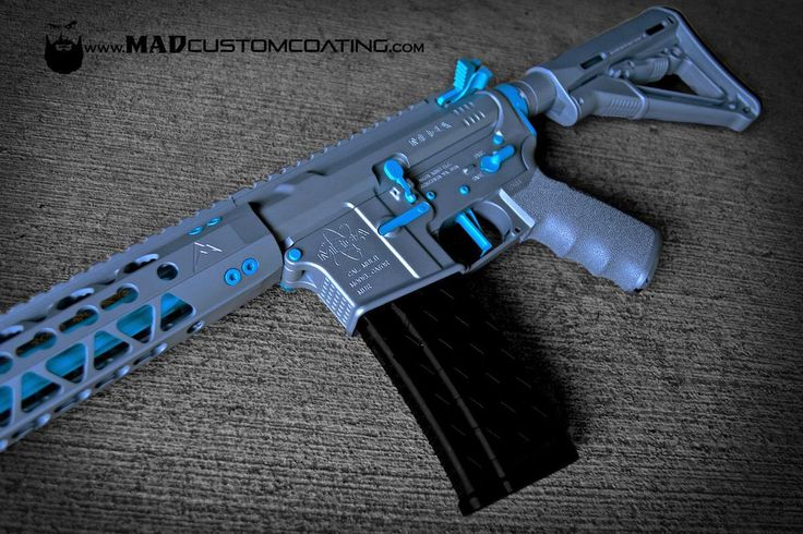 Did this AR15 in Gun Metal Grey with a custom Teal mix for the accents on a Mega Arms receiver set, Rainier Arms rail, CMC Triggers Corp. trigger, Mission First Tactical grip Fortis Manufacturing charging handle. Also featuring a Hexmag. For more projects visit www.madcustomcoating.com.
