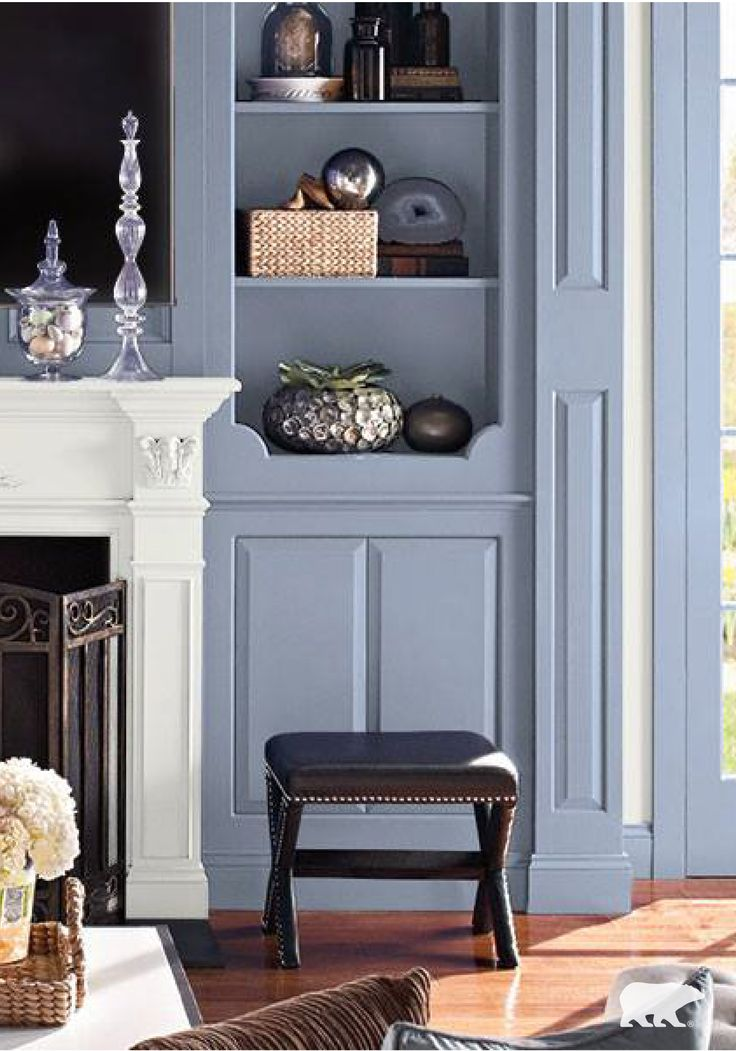 Design Tip: Give White Shelving Or Built Ins New Life With A Coat Of BEHR  Paint In Movie Magic For A Timeless Yet Cozy Feel. Use Accents Of Metallics  And ... Part 16