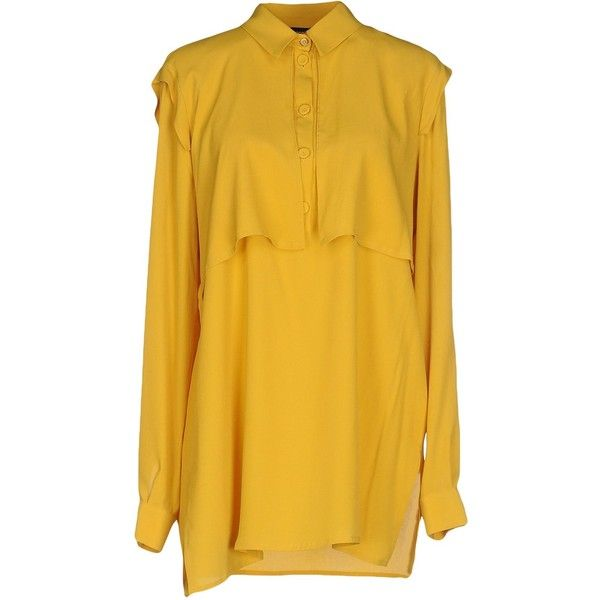 A'biddikkia Blouse ($185) ❤ liked on Polyvore featuring tops, blouses, yellow, long sleeve blouse, long sleeve tops, slit top, yellow long sleeve top and yellow blouse
