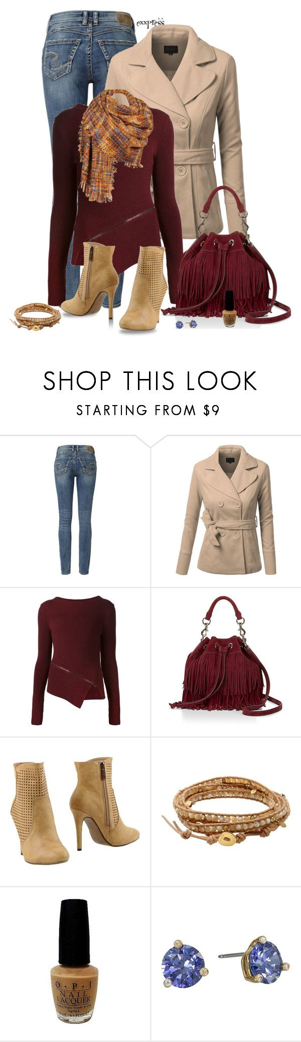 """""""And Oxblood all Over"""" by exxpress ❤ liked on Polyvore featuring Silver Jeans Co., J.TOMSON, Belstaff, Rebecca Minkoff, Trendy Too, Chan Luu, OPI, Kate Spade, oxblood and outfitonly"""