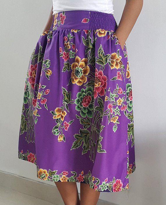 aa23c0bea ... Batik Skirt / Midi Skirt / Floral Skirt / Purple Skirt / Summer Fashion  / Floral Skirt / LonaDesign Batik Collection / OOAK | Products | Skirts, …