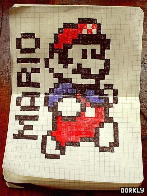 graft paper art | It's just like Mario 3, only with less game and more graph paper.