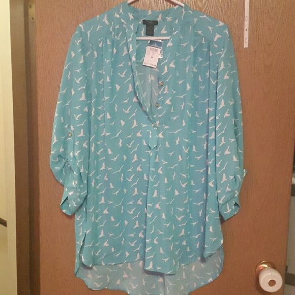 NWT Rue 21 top Blue Rue 21 top. Has roll tab 3/4 length sleeves, gold buttons, and hi-lo hemline. Rue 21 Tops