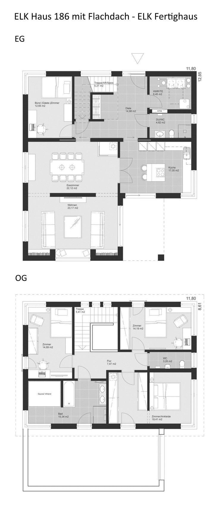 Grundriss Stadtvilla modern mit Flachdach Architektur – 5 Zimmer, 186 qm, 2 Voll…  # Grundriss Einfamilienhaus