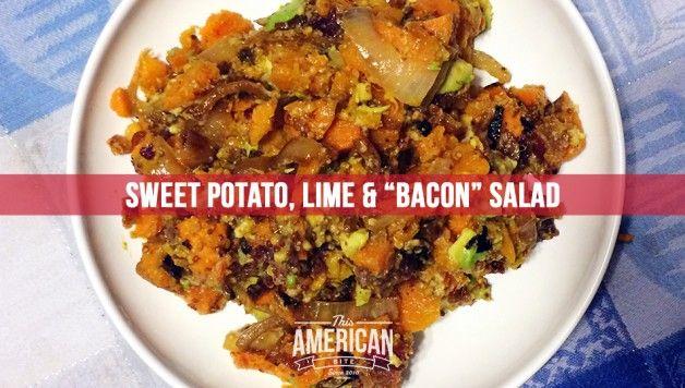 Paleo kosher sweet potato bacon salad