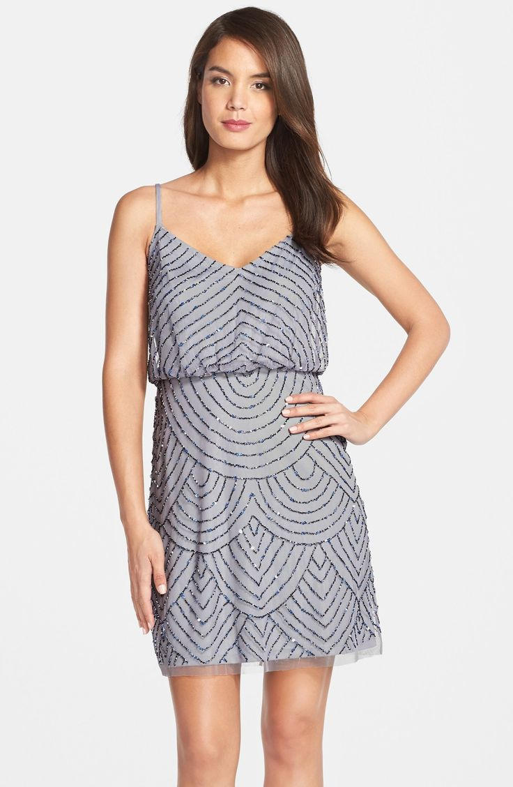 Adrianna Papell Sequin Mesh Blouson Dress (Regular & Petite)