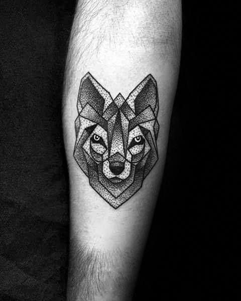 Small Coolest Mens Dotwork Geometric Wolf Inner Forearm Tattoo For
