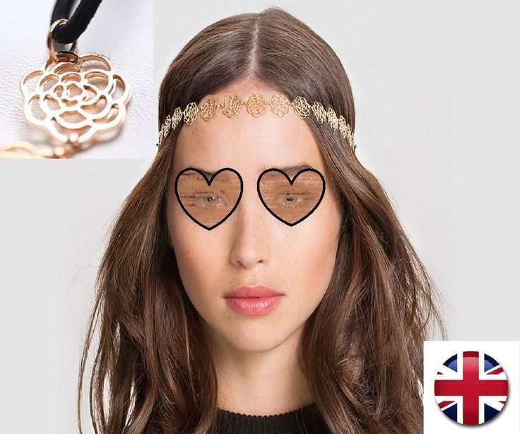 New Fashion Women Metal Head chain Hollow Rose Flower Elastic Hair Band Headband