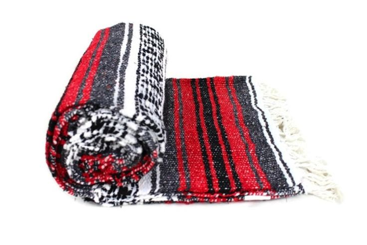 Red & grey Mexican falsa blanket