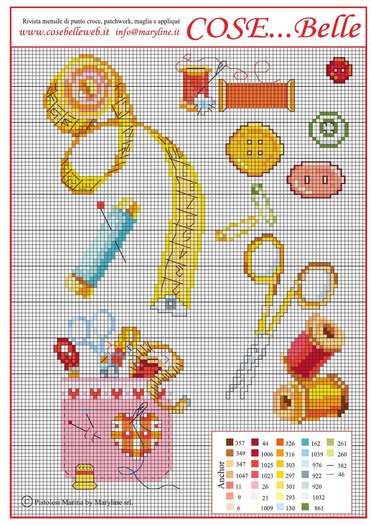 Schema Punto Croce gratis Maggio 2013  Schema ricamo punto croce con attreezzi da ricamo e cucito. Cross stitch pattern sewing and crafts tools. Punto de Cruz grafico bordados. If you use it PLEASE send us photos! Thank