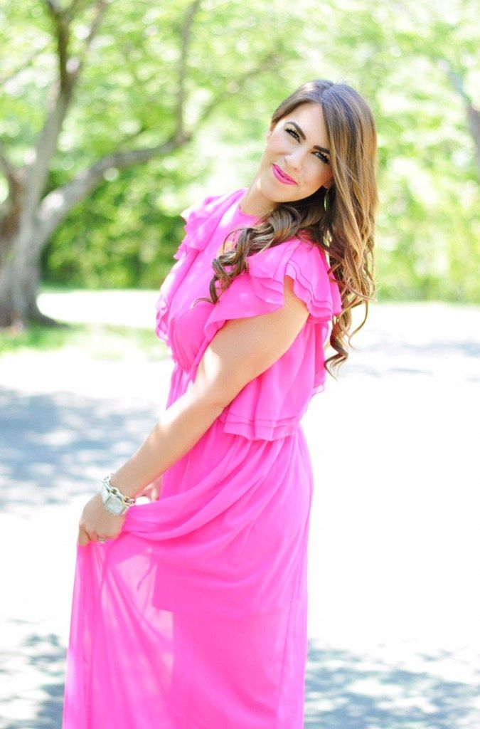 pink ruffles, ruffled pink, hot pink maxi dress, pink maxi dress, maxi dress under $100, wedding guest attire, summer maxi dresses, summer fashion, summer outfit ideas, marble clutch, pretty in pink, pink maxi