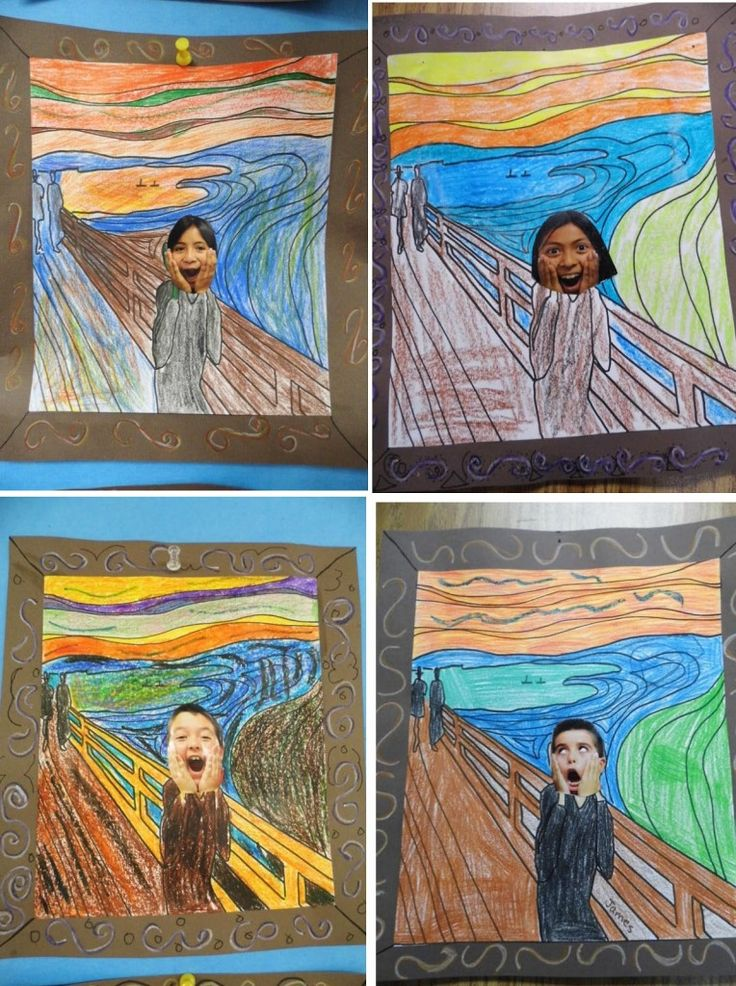 """""""My class did our own version of """"The Scream."""" I have a """"Start Exploring Masterpieces"""" coloring book by Mary Martin (great book for easy art lessons). I made copies of the picture and had students color it with crayons. Then we glued them on brown construction paper and decorated the border to look like a frame. … Read More"""
