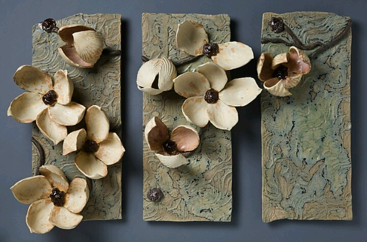 """Les Magnolias"" Ceramic Wall Art Created by Amy Meya"