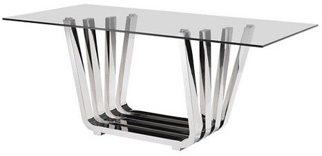 """ZM Home Elegant Tempered Glass and Chrome Stainless Steel 71"""" Rectangular Dining Table"""