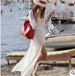 Women White Chiffon Long Bikini Cover Up