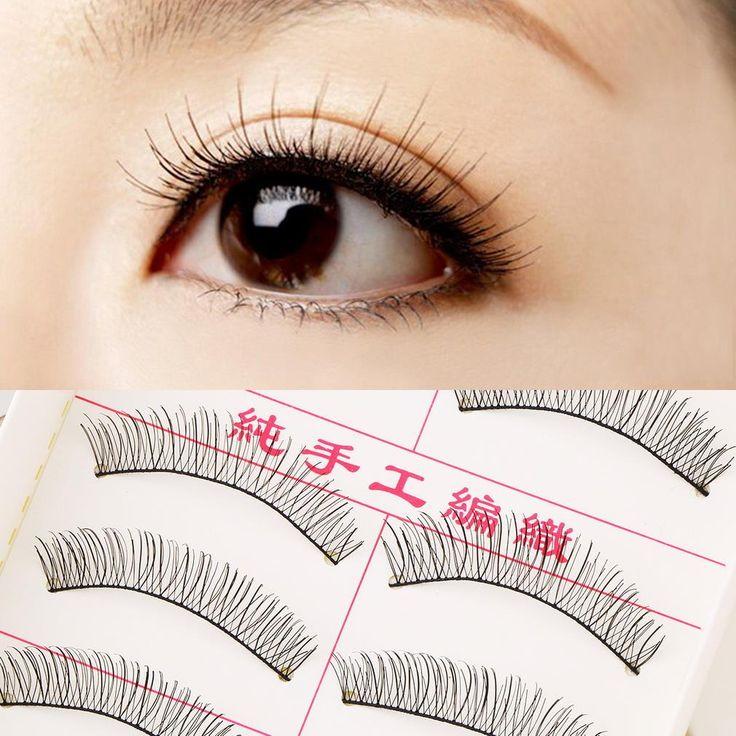 New 2set/20 Pairs Handmade Fake False Eyelash Lashes Natural Transparent Stem Black 2017 Fashion