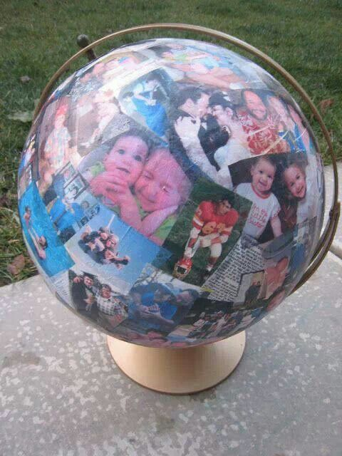 Aww such a great idea.     So going on my Christmas gifts for family Awesome idea. Modge podge pics to an old globe.