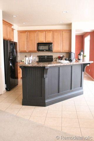 black beadboard kitchen island makeover kitchen
