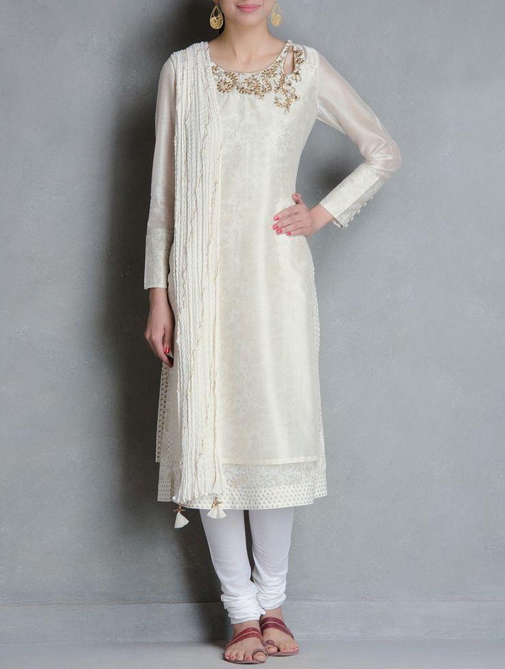 Buy Ivory Golden Gota Patti Embellished Khari Block Printed Chanderi Layered Kurta Online at Jaypore.com