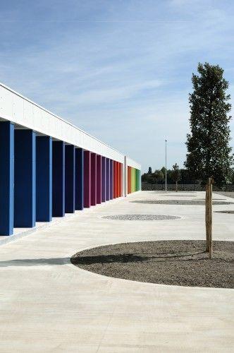 Pencil Box   Architects: Paolo Didonè, Sergio De Gioia, Fabrizio Michielon.  Location: Modena, Province of Modena, Italy. 2012. School building made in 50 days for the earthquake emergency in Emilia Romagna.