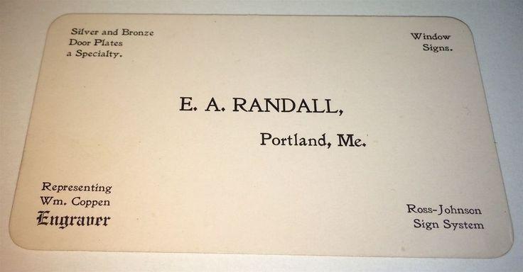 Rare Antique American Window Sign Maker, Engraver Advertising Maine Trade Card! #EARandall