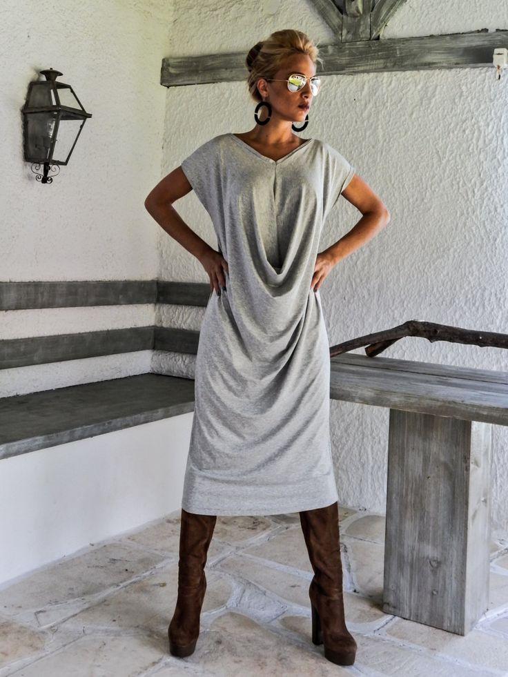 Light Gray Melange Maxi Dress / Gray Kaftan / Asymmetric Plus Size Dress / Oversize Loose Dress / #35037 by SynthiaCouture on Etsy