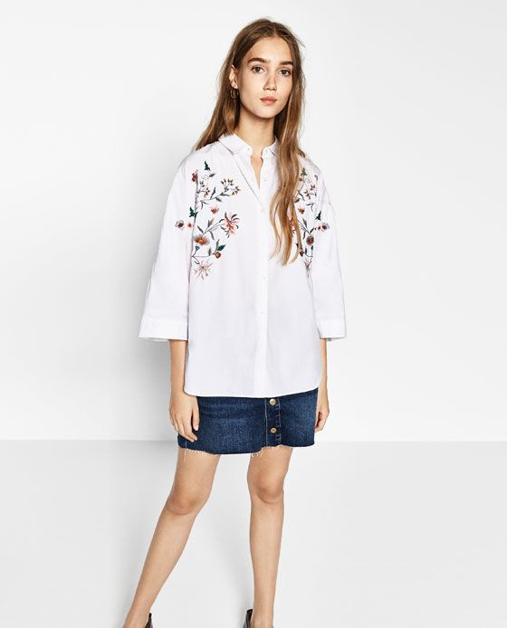 Image 1 of OVERSIZED FLORAL SHIRT from Zara